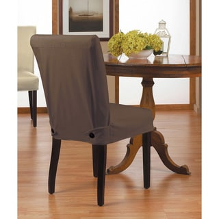 Twill Short Dining Chair Relaxed Fit Slipcover with Buttons