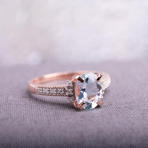 Miadora Rose-plated Silver 1ct TGW Aquamarine and Diamond Accent Ring
