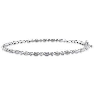 Miadora Sterling Silver 1/4ct TDW Diamond Bangle (H-I, I2-I3)