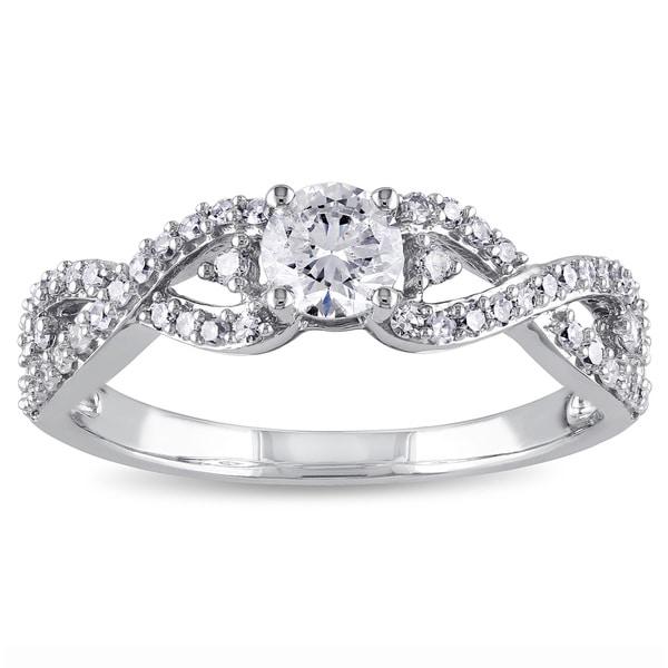 Miadora Signature Collection 14k White Gold 3/4ct TDW Infinity Diamond Promise Ring