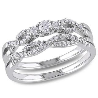 Miadora 10k White Gold 1/3ct TDW Braided Vintage Diamond Bridal Set