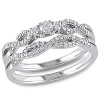 Miadora 10k White Gold 1/3ct TDW Braided Vintage Diamond Bridal Set