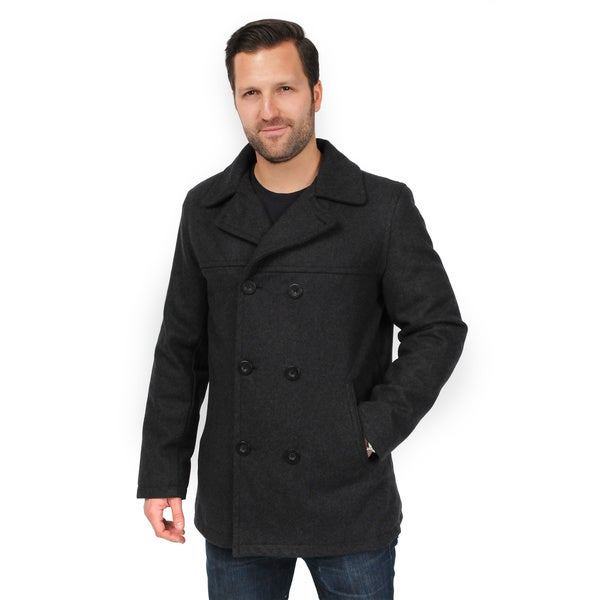 EXcelled Men's Double Breasted Peacoat (Extended Sizes) - Free ...