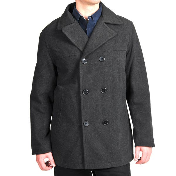 c8f8b8b3 Shop Men's Wool Look Double-breasted Peacoat - Free Shipping On ...