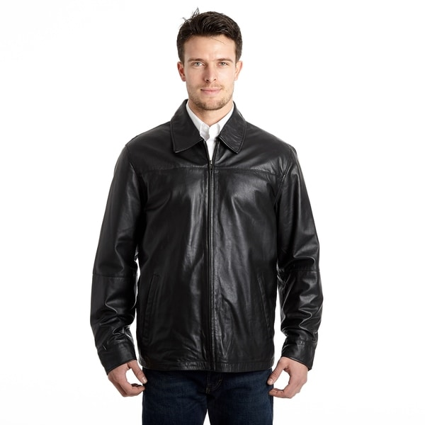 Men's Lamb Leather Open Bottom Jacket with Self Belted Back