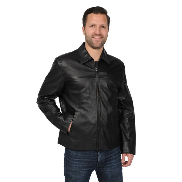 EXcelled Mens Big and Tall Black New Zealand Lambskin Leather Jacket