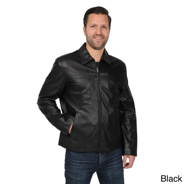EXcelled Men's Big and Tall Black New Zealand Lambskin Leather Jacket