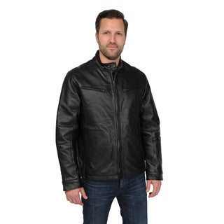 EXcelled Men's Black Leather Scooter Jacket