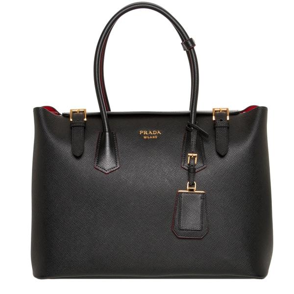 Prada Black Saffiano Cuir Leather Tote Handbag