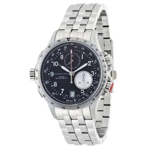 Hamilton Men's H77612133 Khaki ETO Black Chronograph Dial Watch
