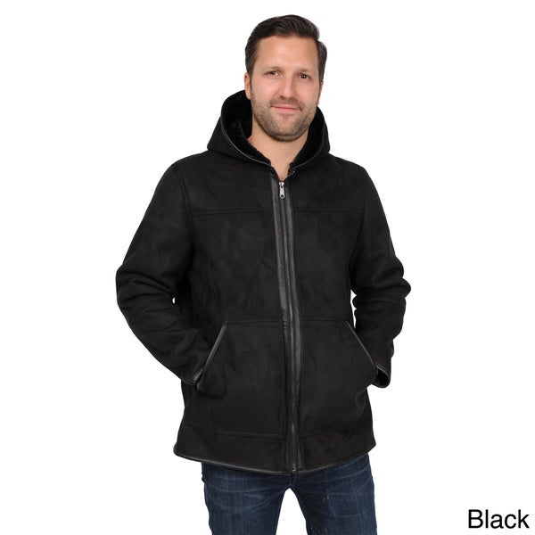 e9b01cc5a Shop EXcelled Men's Faux Shearling Hooded Hipster Jacket - Free ...