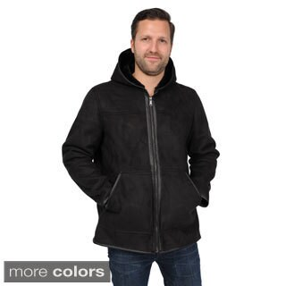 EXcelled Men's Faux Shearling Hooded Hipster Jacket
