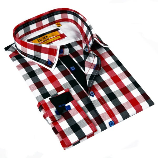 Brio Milano Men's Red and Grey Gingham Plaid Classic Fit Button ...