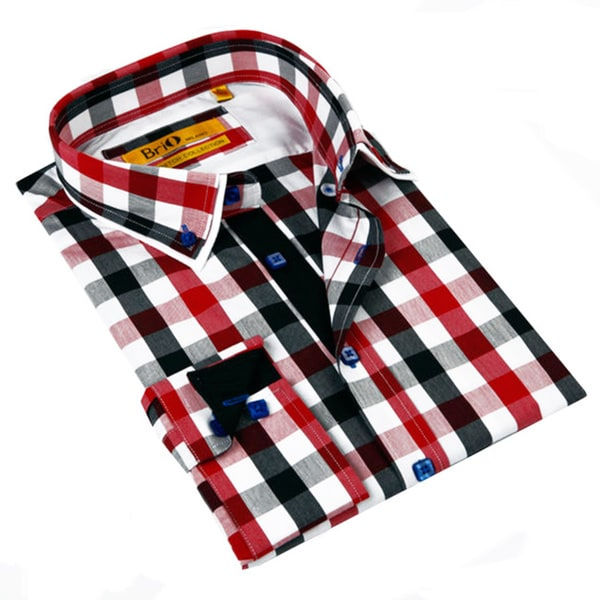 Brio milano men 39 s red and grey gingham plaid classic fit for Red and white gingham shirt women s