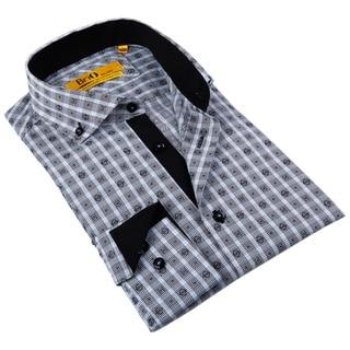 Brio Milano Men's Grey and Light Blue Plaid Button-down Shirt
