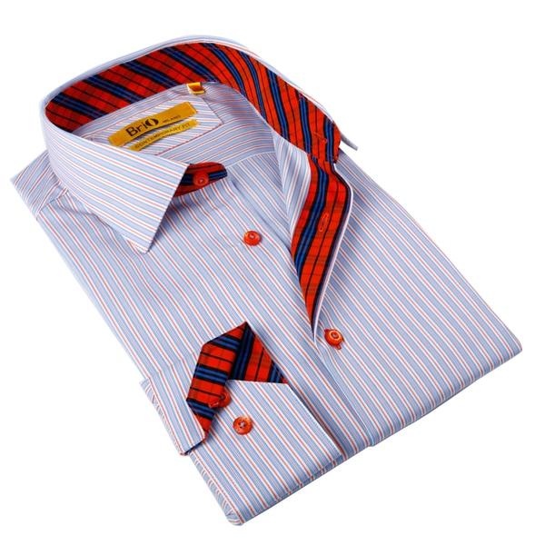 Brio milano men 39 s blue and red striped button down shirt for Red and white striped button down shirt