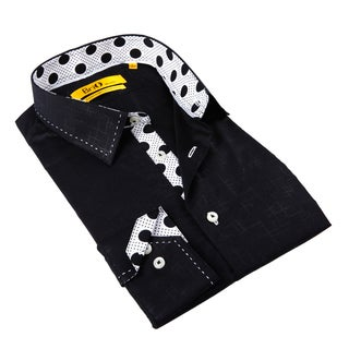 Brio Milano Men's Black Polka-dot Trim Button-down Shirt