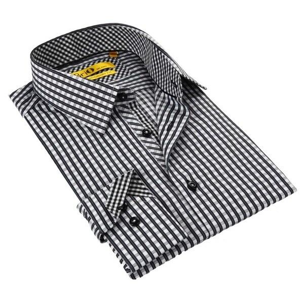 Brio milano men 39 s black white checkered button down shirt for Black and white check mens shirt