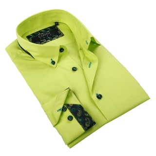 Coogi Luxe Mens Lime Green Button-down Shirt
