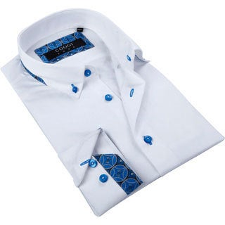 Coogi Luxe Men's Solid White Button-down Fashion Shirt