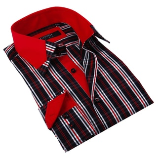 Coogi Luxe Men's Plaid Button Down Fashion Shirt with Solid Red Trim
