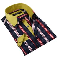 Coogi Luxe Men's Navy/ Red Plaid Button Down Fashion Shirt with Yellow Trim