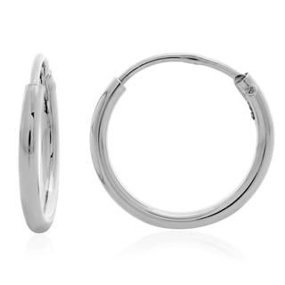 Sterling Silver 0.6-inch Skinny Tube Hoop Earrings
