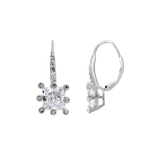 Sterling Essentials Sterling Silver Princess-cut Cubic Zirconia Embellished Dangle Earrings