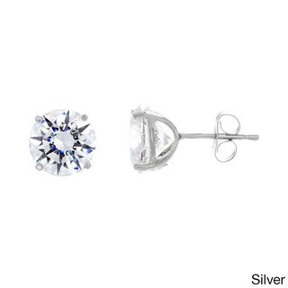 Sterling Essentials Sterling Silver 9mm Round-cut Cubic Zirconia Stud Earrings