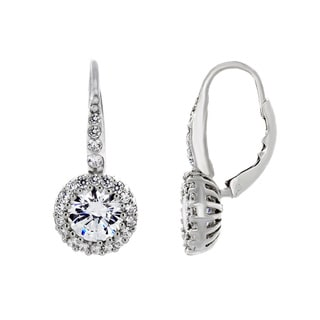 Sterling Silver Cubic Zirconia Halo Dangle Earrings