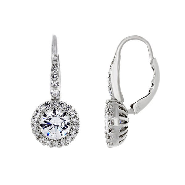 d0a92eb2e0b20 Sterling Essentials Sterling Silver Cubic Zirconia Halo Dangle Earrings