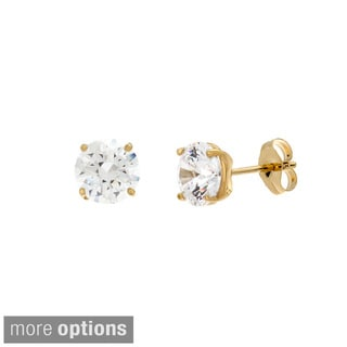 Sterling Essentials Sterling Silver 6.5 mm Round-cut Cubic Zirconia Stud Earrings