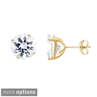 Sterling Essentials Sterling Silver Round-cut Cubic Zirconia 4-prong Stud Earrings