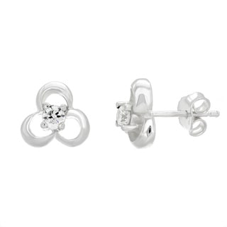 Sterling Essentials Sterling Silver Cubic Zirconia Cut-out Trefoil Stud Earrings