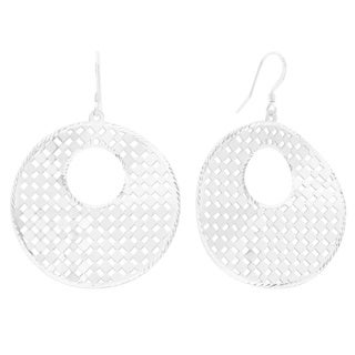 Sterling Silver Diamond-cut Lace Disc Drop Earrings