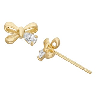 Junior Jewels 14KT Gold CZ Ribbon Bow Designer Earrings