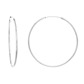 Sterling Essentials Silver 2-inch Skinny Tube Hoop Earrings (2 options available)