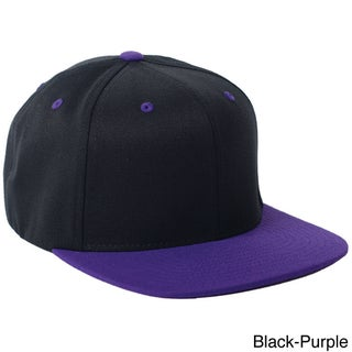 Flexfit Wool Blend Flat Bill Two-tone Baseball Cap (Option: OS,BLACK/PURPLE)
