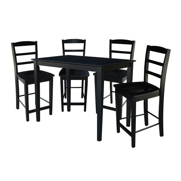 Ashland Black Counter Height 5 Piece Dining Set: Shop Madrid 30-inch Black Counter Height 5-piece Dining