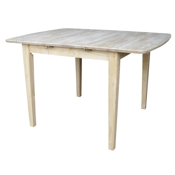 Unfinished Shaker Style Parawood Dining Table With Butterfly Extension