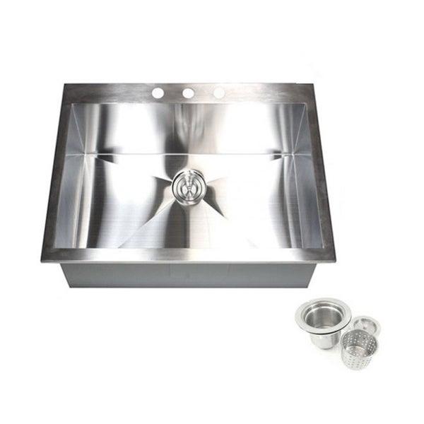 25 Inch 16 Gauge Stainless Steel Single Bowl Topmount Drop In Zero Radius  Kitchen