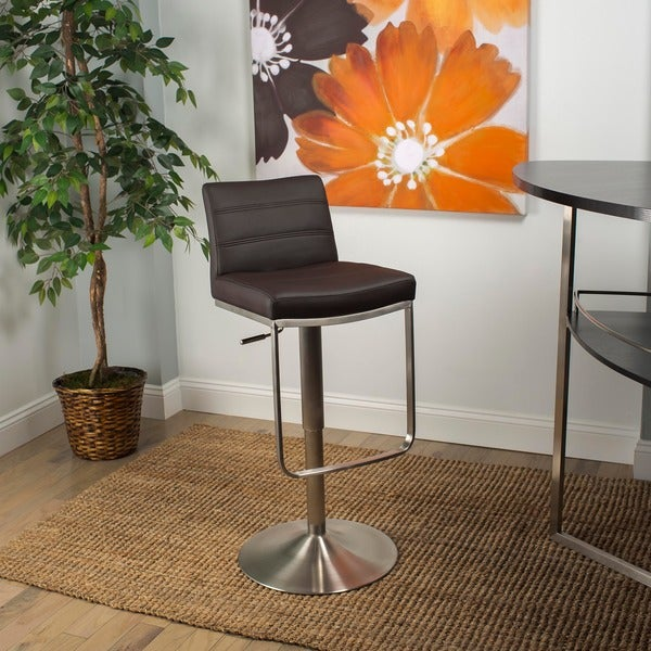 Brushed Stainless Steel Adjustable Height Swivel Bar Stool