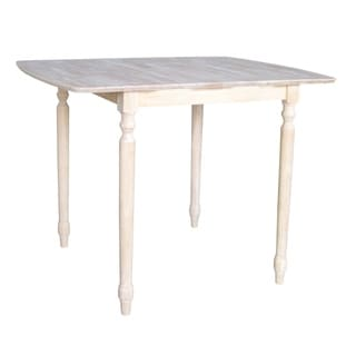 Unfinished Turned Style Parawood Counter Height Dining Table with Butterfly Extension
