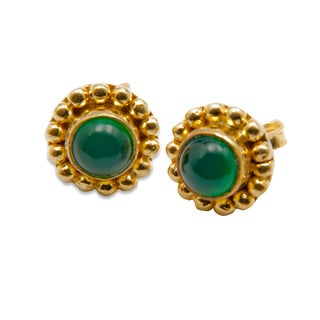 Sitara Goldplated Green Onyx Post Earrings (India)