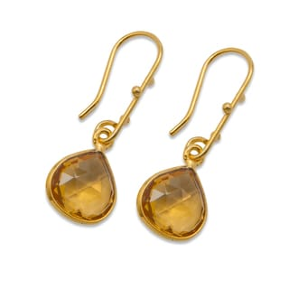 Sitara Goldplated Lime Quartz Dangle Earrings (India)