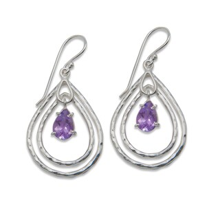 Sitara Silverplated Amethyst Dangling Earrings (India)