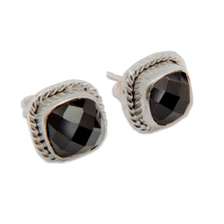 Sitara Silverplated Black Onyx Stud Earrings (India)