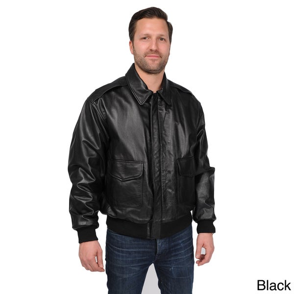 Excelled Mens Big and Tall A-2 Leather Bomber Jacket with Multi-pocket Front