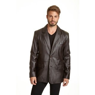 Excelled Men's Big and Tall Lambskin Leather 2-button Blazer with Flap Pockets