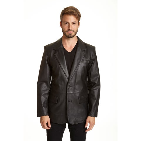 Men's Tall Lambskin Leather 2-button Blazer with Flap Pockets